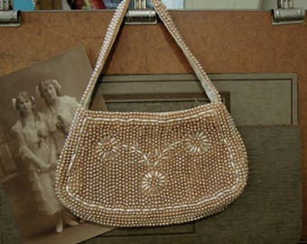 Vintage Beige and Cream Faux Pearl Beaded Purse / Handbag / Clutch / Wedding Clutch