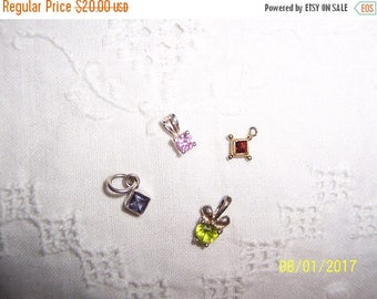 TWICE A YEAR, 25% Off Vintage Tiny pendants or charms, set of 4. Sterling silver.