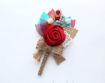 Red Turquoise Rosette Burlap Boutonniere/ Wedding Lapel Pin/ Handmade Wedding Accessory