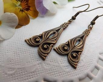 Art Nouveau Brass Drop Earrings
