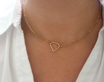 Sweet April Fools Joke Gold Diamond Necklace, Gold Choker Necklace, Cute Gag Gift for Her, Dainty Gold Necklace, Gold Geometric Jewelry