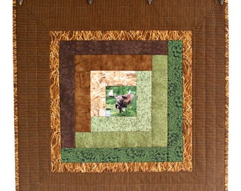 Quilted Wall Hanging, Moose, Brown Green Table Topper, Log Cabin Wall Quilt, Lodge Decor, Quiltsy Handmade