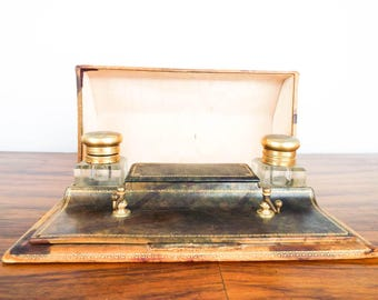 Vintage Edwardian Traveling Writing Inkwell Case Desk Set, Unique Brown Leather, JLB Traveling Set for Author or Friend who Loves Writing