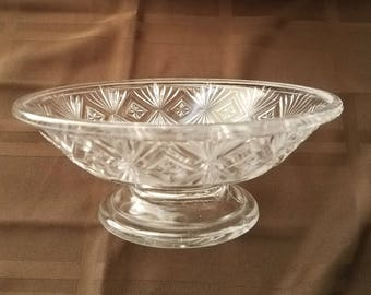 Vintage EAPG Clear Glass Compote Comport Star Sunburst circa 1880s
