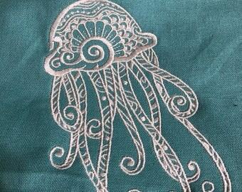 New Tea Kitchen towel embroidered Mehndi jellyfish