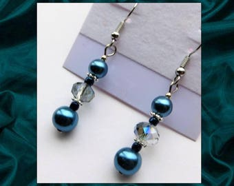 AQUAMARINE PEARLS- Handcrafted Beaded Earrings- Glass Pearl and Crystal Beads- Stainless Steel French Hook Ear Wires
