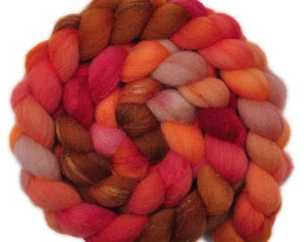 Hand painted combed top roving - Silk / Shetland wool 30/70% spinning fiber - 4.0 ounces - Reading by Firelight 0