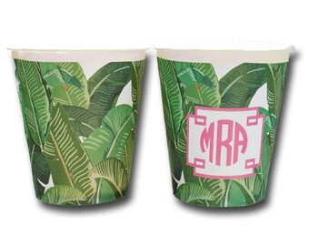 Personalized or Plain Tropical Banana Leaf Hot/Cold Paper Party Cups - Set of 12