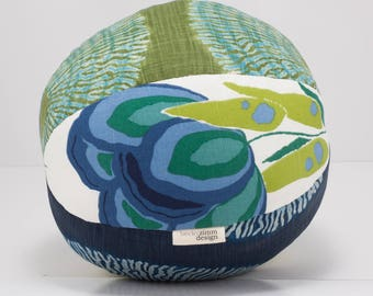 Cotton Throw Pillow Large- Blue and Green Pillow Ball- Great for Dorm room decorating- by beckyzimmdesign