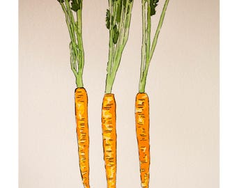 Original Watercolor Painting Three Carrots 11x15inches, Watercolor Painting, Food Sketch, Kitchen Decor, Wall Art, Food art