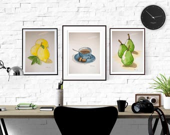 Signed Watercolor Prints, You pick 3, Food set, 8.5x11inches, Watercolor Painting, Food Sketch, Kitchen Decor, Wall Art, Food art