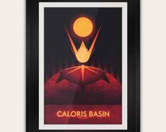 Space Travel Poster - Mercury - Caloris Basin