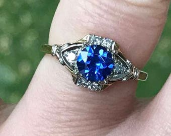 Vintage 14k YG and WG Synthetic Sapphire and Diamond Ring