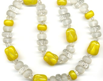 """Vintage Necklace Strand of Mixed Yellow & Matte Finish Clear Glass Beads 15.75"""" Long - Restring, Restyle, Repurpose"""