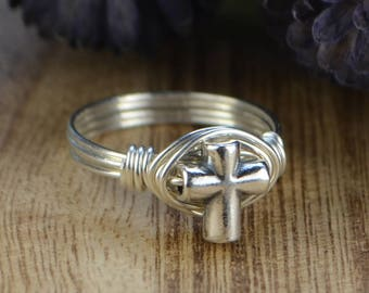 Silver Cross Wire Wrapped Ring- Sterling Silver Bead with Sterling Silver, Yellow or Rose Gold Filled Wire - Size 4 5 6 7 8 9 10 11 12 13 14