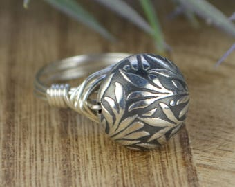 Sterling Silver Leaves Bead Wrapped Ring- Sterling Silver, Yellow or Rose Gold Filled Wire- Any Size 4 5 6 7 8 9 10 11 12 13 14