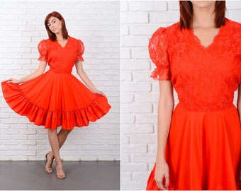 Vintage 70s Red Lace Dress Full Square Dance Floral Puff Sheer Slv Medium M 9621