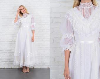 Vintage 70s White Victorian Dress Wedding Lace Stripe Floral XS 10046