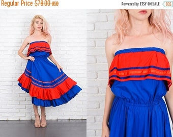 Sale Vintage 70s Blue + Red Tiered Dress Color Block Asymmetrical Strapless Hippie S 9978