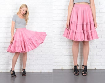Vintage 80s Pink Full Skirt high waist Small Medium S M 10189