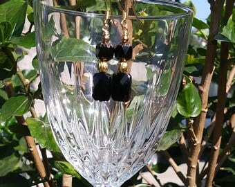 Beaded Black and Gold Square Earrings