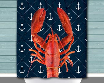 Lobster Shower Curtain: Anchor Navy Beach House Inspired | 12 Eyelet/Button Hole | Size and Pricing via Dropdown