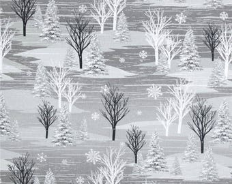 FLANNEL - Scenic Winter Forest on Gray from Henry Glass's Frosty Folks Flannel Collection