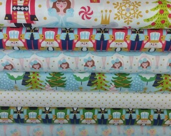 Nutcracker Fabric Bundle from Blend Fabric's Snowflake Waltz Collection by Maude Asbury (8 Fabrics Total) - Cotton Fabric