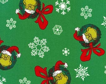 Dr. Seuss Grinch Christmas Wreaths on Green from Robert Kaufman's How The Grinch Stole Christmas Collection - 100% Cotton Fabric