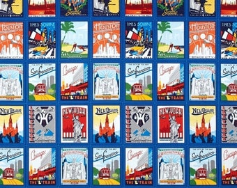 "SUMMER SALE Fat Quarter (18""x22"") ONLY - Explore America Bright City Postcards from Robert Kaufman"