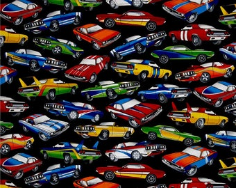 Muscle Cars on Black from Timeless Treasures - 100% Quilting Cotton