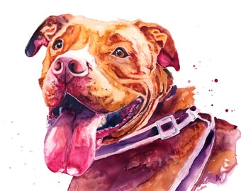 Red Pit Bull Dog Watercolor Fine Art Print on Paper, Metal, or Bamboo