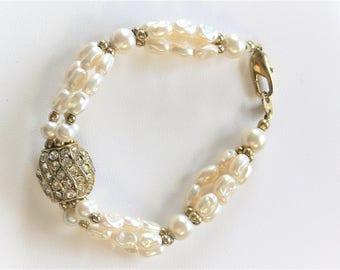 pearl and rhinestone bridal bracelet