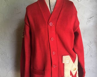 Vintage Red Wool Letterman Sweater with Sports Pins