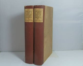 1908 The Life & Strange Surprising Adventures of Robinson Crusoe by Daniel Defoe 2 Volume Set Complete
