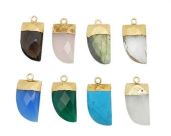 15% off Christmas in July Petite Gemstone Horn Pendant with Electroplated 24k Gold Cap and Bail (S114B12)