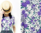 Handmade Purple flowers Print Striped T-Shirt, Top ; Small, Medium, Large [Bo-bo Shirt/Purple shades]