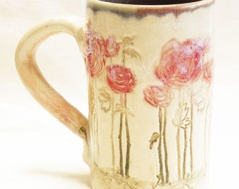 ceramic red flower coffee mug 16oz stoneware 16D056