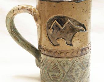 hand built bear ceramic coffee mug 16oz stoneware 16D076