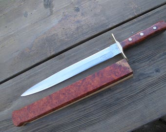 Dagger Slim With  440C Blade and Amboina Wood Handle Made in The USA With Amboina Wood Scabbard.