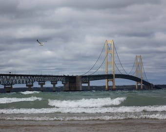 Mackinac Bridge, Michigan, Beach, Nautical, Storm, Water, Travel, Home Decor, Original Fine Art Photograph, Print