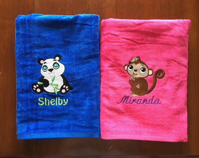 Kids Easter, Easter Gift, Animals, Personalized Towel, Personalized, Bathroom Decor, Custom Made,  Custom Order, New Home Gift, Kids Towel