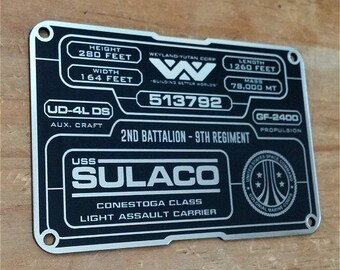 Custom ALIENS USCM SULACO 513792 Specifications Data Plate Prop Xenomorph Giger