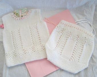 Hand Knit Baby Cami Knicker Set 6M Baby Girl Vest Soakers Gift Set Alpaca Wool Lace Vintage Pattern