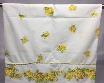 Vintage, Floral, retro, pillowcase with orange, yellow,  flowers, bedding, linens, pillowcase, flowers, floral pillowcase