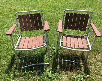Vintage Aluminum and Wood  Lawn Chairs