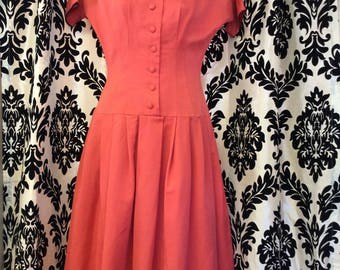 Completely Cute Coral 50's Low Waist Dress
