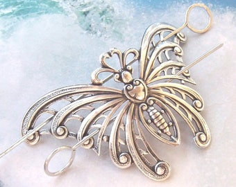 Silver Butterfly Hair Slide, butterfly shawl pin, large silver shawl pin, hammered, oxidized, hair stick, hair pin, barrette, silver slide