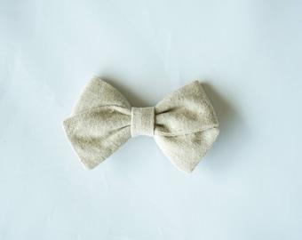 Linen Hand Folded Bow Clip or Headband Nylon Skinny Headband - Natural-