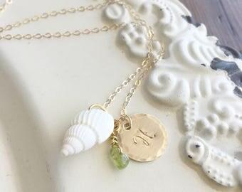 Beach Necklace . Beach Jewelry . Shell Necklace . Pura Vida . Personalized Beach Jewelry . Personalized Necklace . Shell Jewelry .
